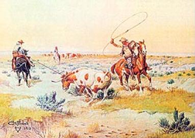 - Figure 3Lassoing a LonghornOlaf Carl Seltzer (Danish/American, 1877-1957)Watercolor on paper