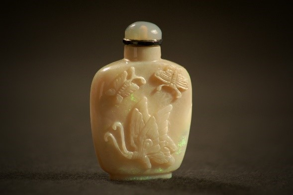 Vintage Antique Chinese hand carved stone snuff bottle brown possibly Jasper