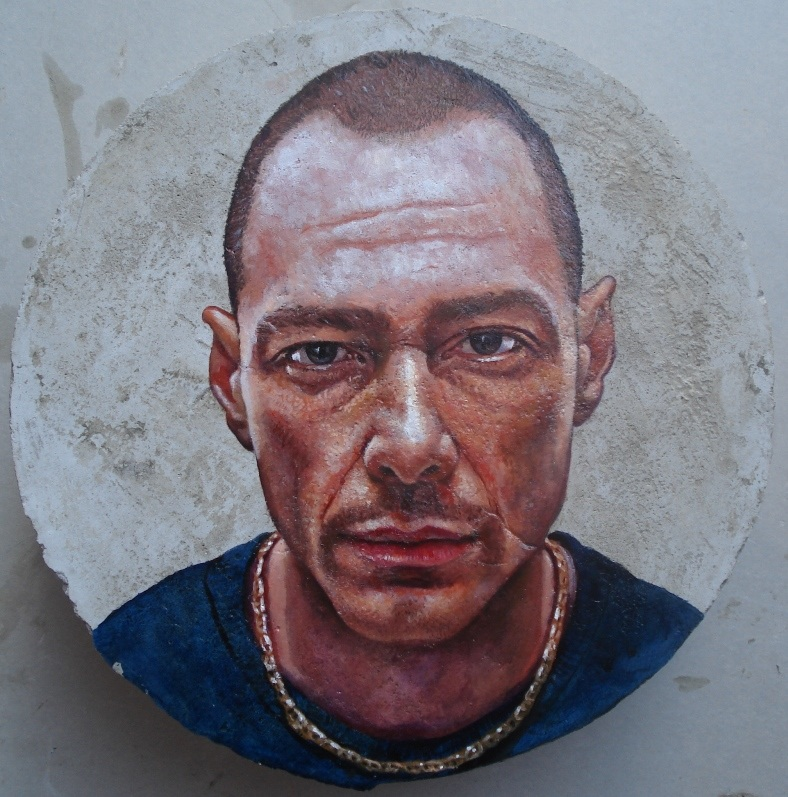 "Mario Loprete, ""Fabri Fibra,"" oil on concrete, diameter 25 cm"