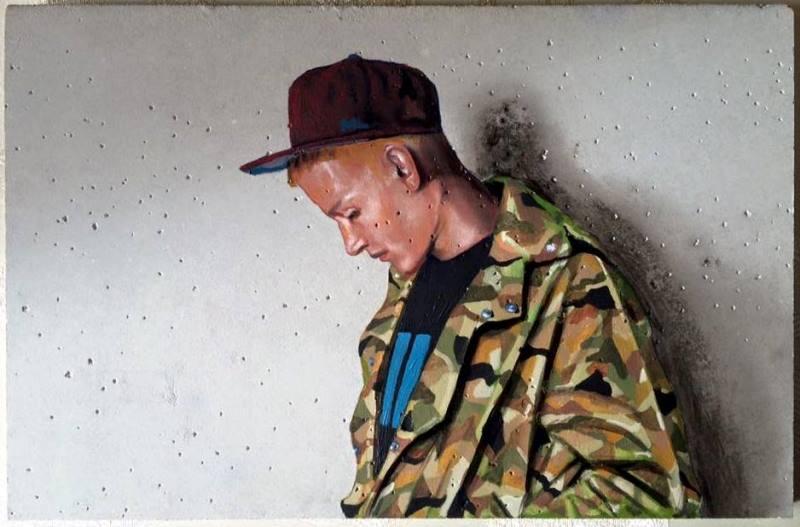 "Mario Loprete, ""B-Boy,"" oil on concrete 20 x 30 cm"
