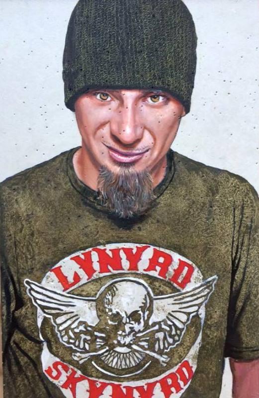 """Mario Loprete, """"J-ax,"""" oil on concrete 20 X 30 cm"""