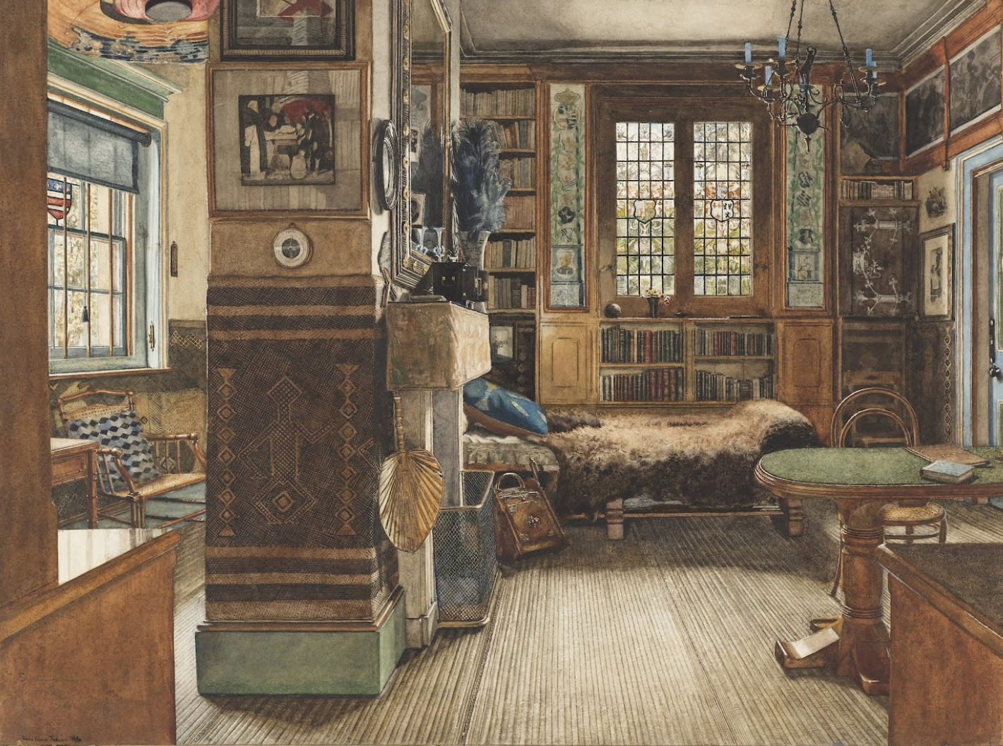Sir Lawrence Alma-Tadema,  Library in Townshend House ,  London,  1888, Brush and watercolor and gouache, pen and ink, graphite on white paper.  Cooper Hewitt, Smithsonian Design Museum , New York.