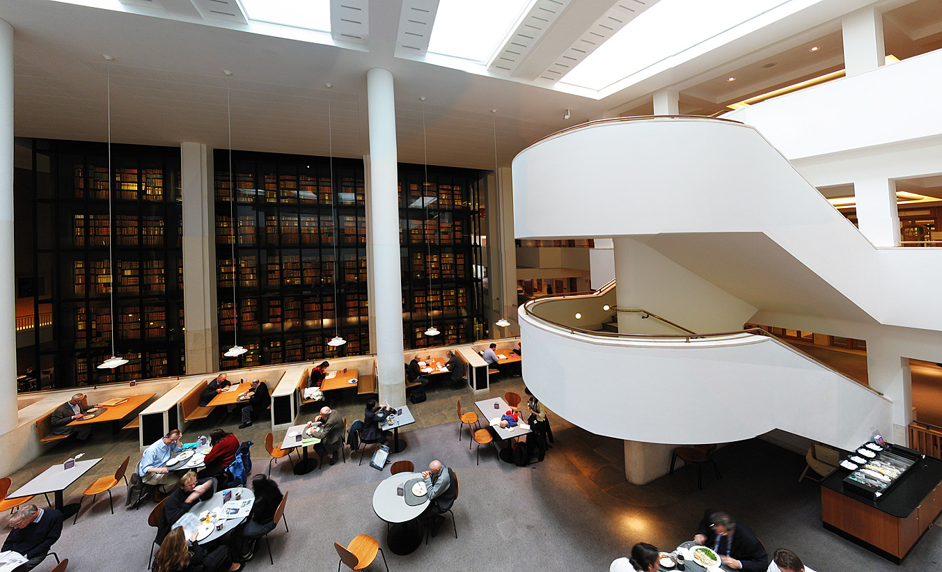 Interior of the British Library designed by Colin St. John Wilson, with the enclosed, smoked glass ''King's Library'' at its centre , Photograph Credit: Andrew Dunn, 2004.