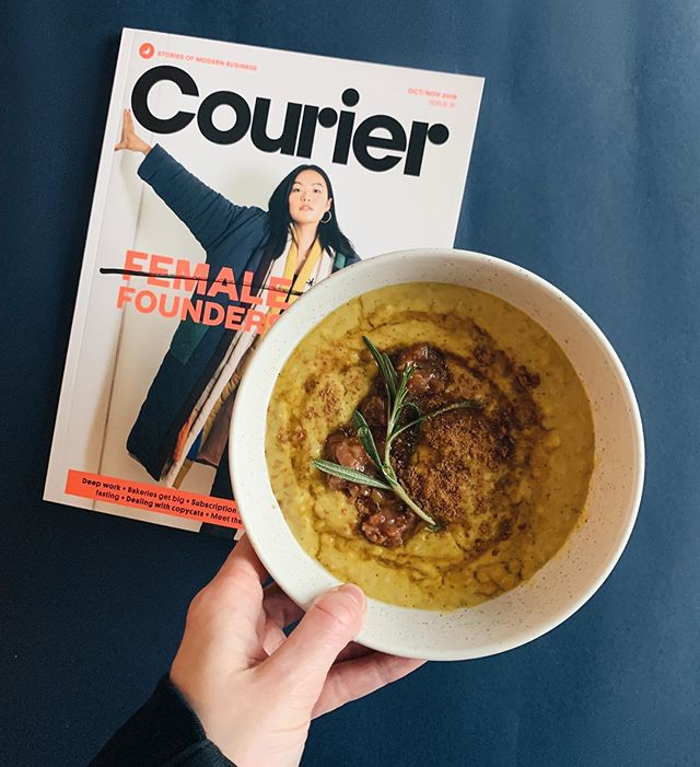 Tumeric, Cinnamon and Ginger slow cooked porridge with a date and orange chutney is the only way to start scarf season 🥴 . . . Also big love for this edition of @couriermedia for highlighting how many amazing female owned businesses there are that are booming!