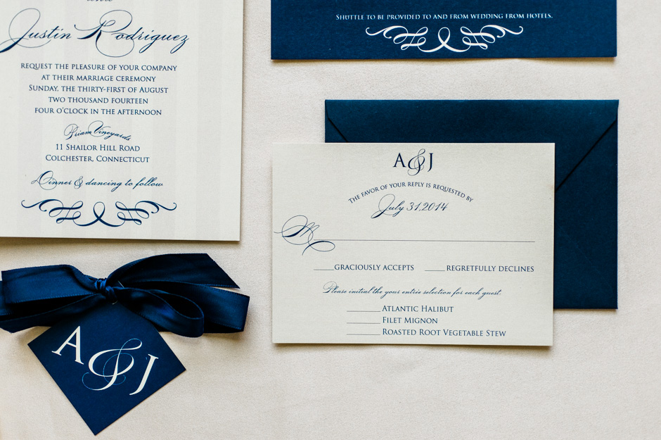 Amy and Justin's Classic Vineyard Wedding Invitations