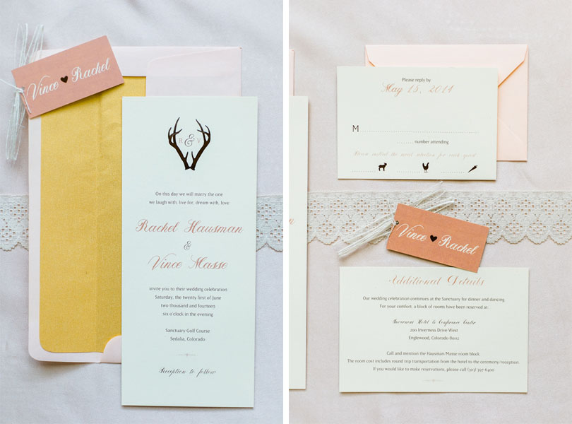 Rachel & Vince's Rustic Glam Wedding Invitations