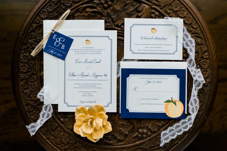 Erica + Bill's Georgia Peach Wedding Invitations