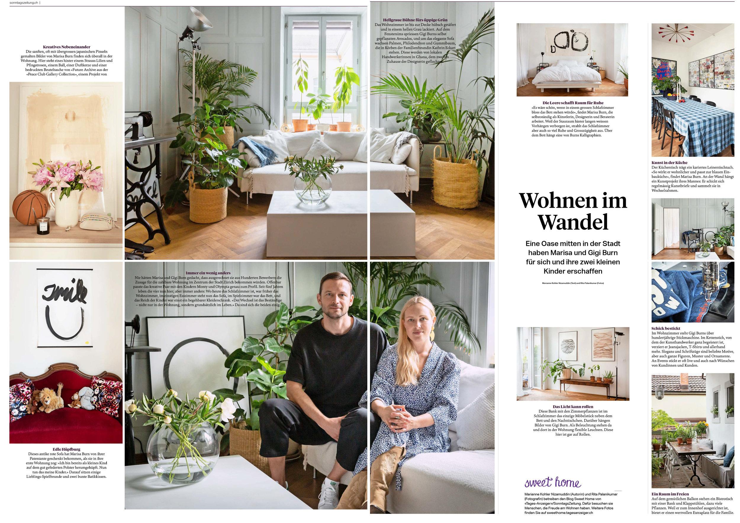 sonntagszeitung - Homestory Marisa Burn & Gigi Burn