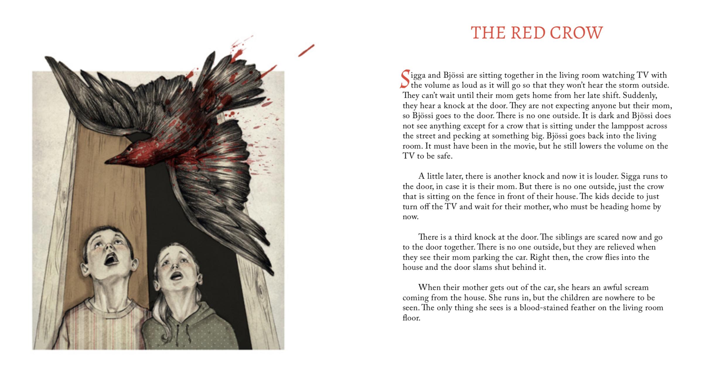 The Red Crow  by Freyja Gyðudóttir Gunnarsdóttir, age 9. Illustration by  Erla María .