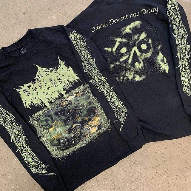 New CEREBRAL ROT 'Odious Descent Into Decay' long sleeves and tees heading out to the band for the upcoming tour w/ FETID and for @20buckspinlabel !!