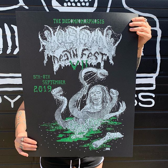 """Honored to work with KILLTOWN DEATHFEST on these exclusive posters, which will be available to purchase at the fest. Printed on thick 19""""x25"""" French Paper cardstock. Artwork by @inklesions !  See you there ?????"""