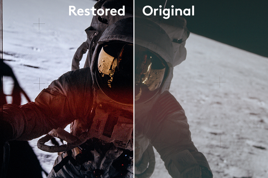 Restoration Process - Thanks to an extensive restoration and color grading process, you get to see a large number of Apollo photographs in such detail, brilliant colour and quality in print which has only been presented in its original raw state before now.
