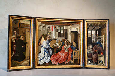 Annunciation Triptych (Merode Altarpiece), Workshop of Robert Campin, oil on oak, South Netherlandish, ca. 1427-32