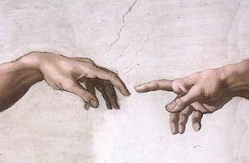 "Detail from Michelangelo's ""Creation of Adam"" from the Sistine Chapel"