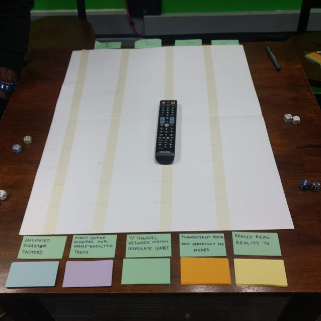 The final setup – Time slots, 5 channel cards and TV show card decks