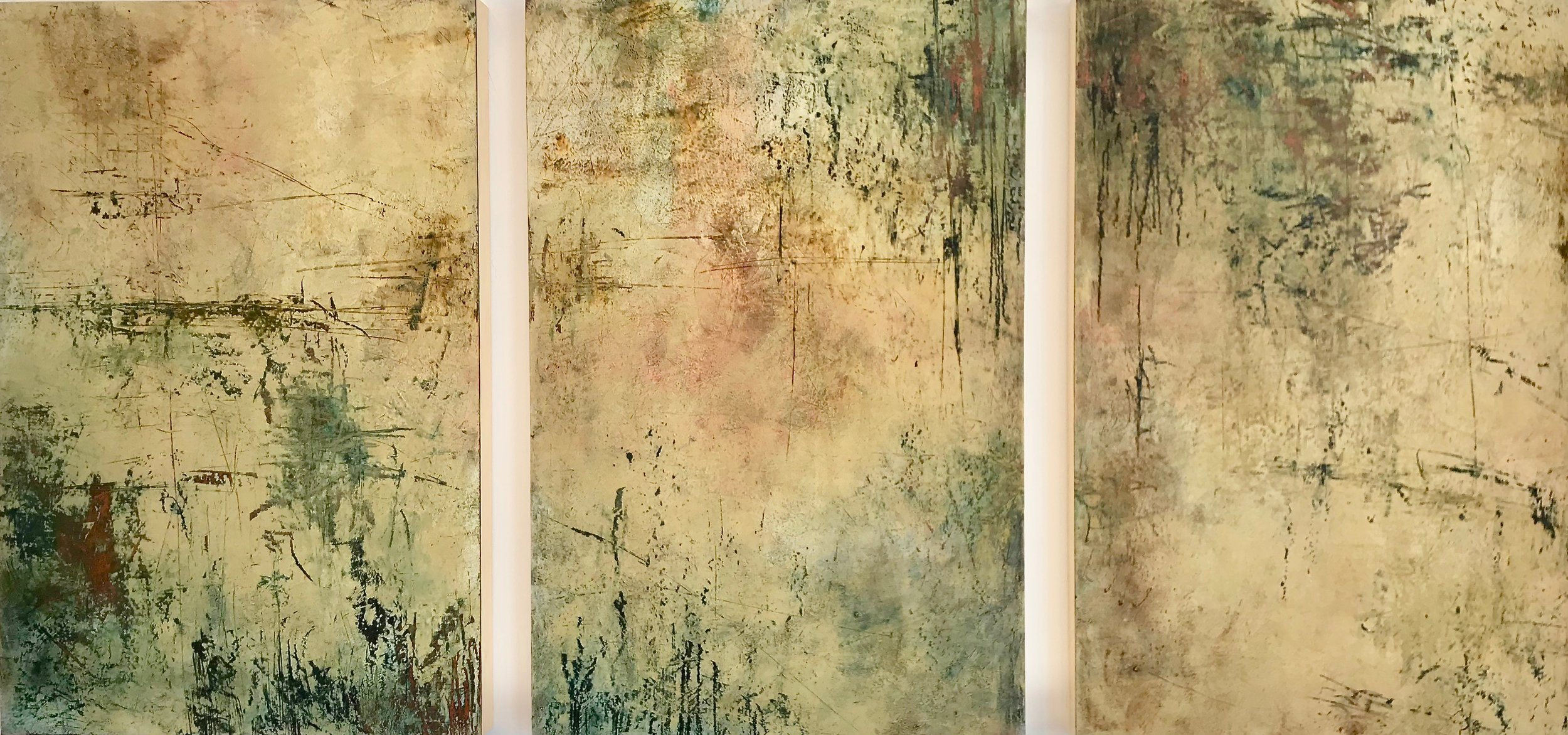 "Reflection, 2019, oil pigment & beeswax on panel, 36"" x 72"""