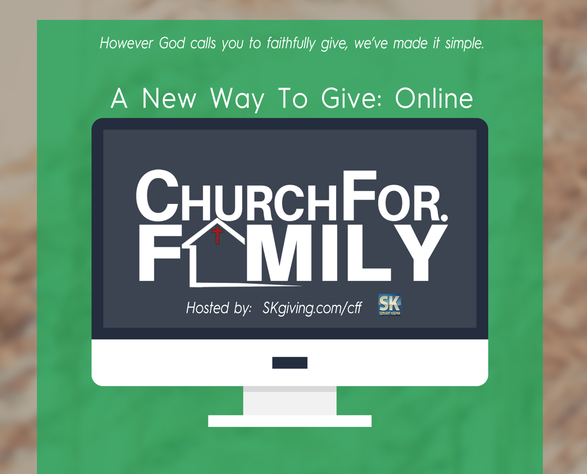 "You can also set up ""text giving"" as ChurchForFamily's special Give Now Text Number: 909-219-9699 Simply text an amount [Example: ""20""] to the number above and you will receive instructions on how to set up your text giving. Text giving is as secure as our regular online giving service."