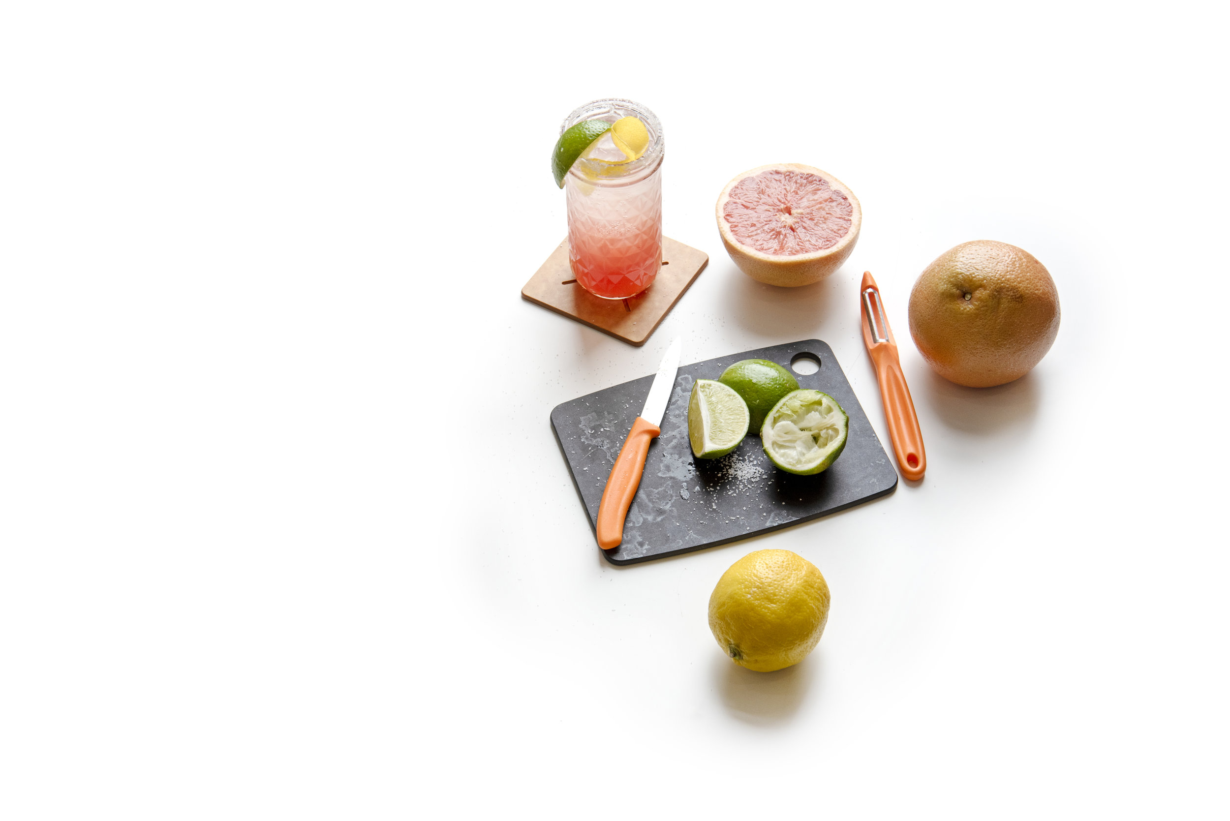 "Signature Combo SetOnly $24.99 - 8"" x 6"" Kitchen Series Bar Board in SlateFour Piece Coaster Set in Natural Victorinox Paring Knife & Peeler setSignature Palomarita Recipe!Available while supplies last, at the Epicurean Outlet!"