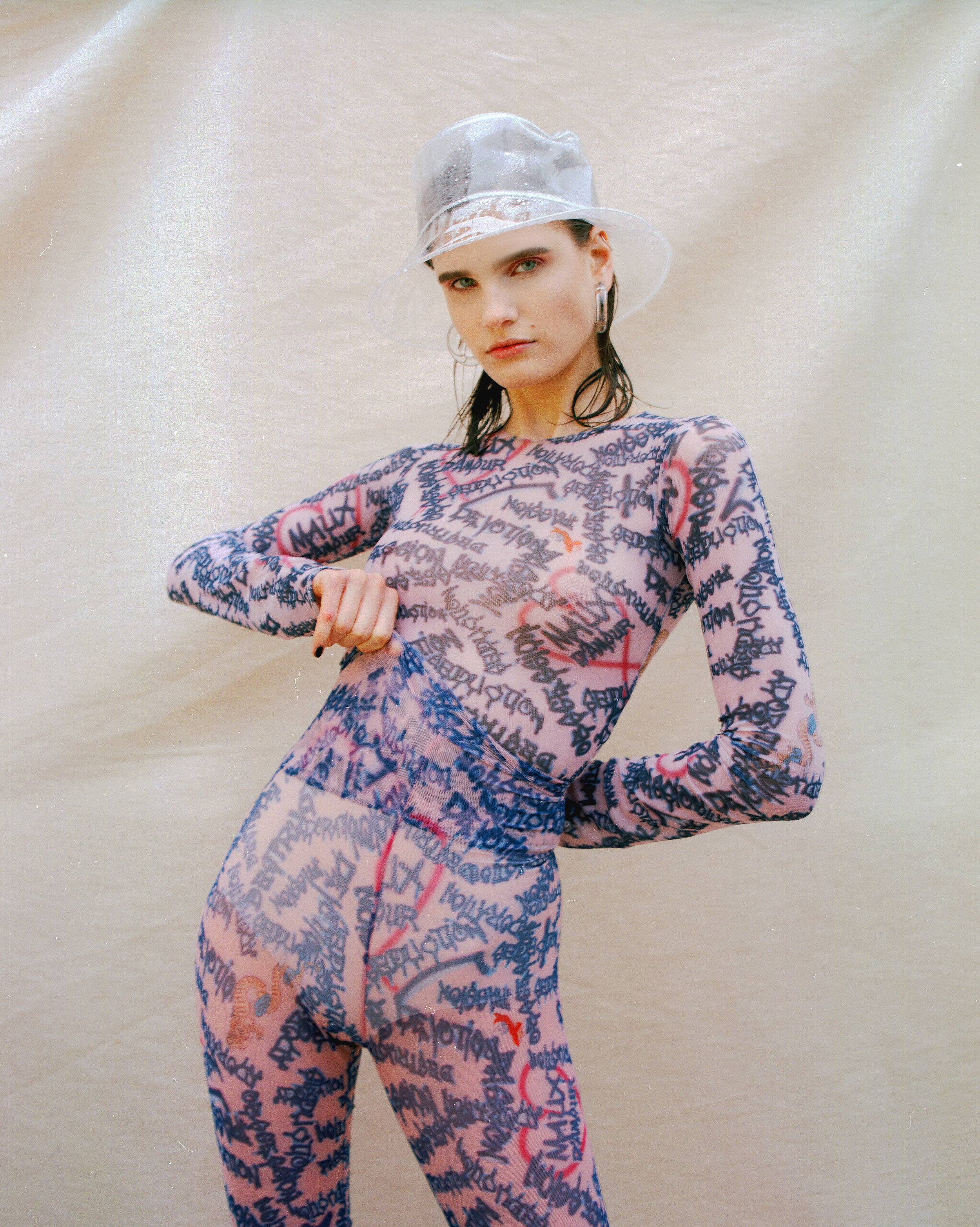 """Kateryna wearing our printed """"Maux d'amour"""" top and leggings on Coeval magazine   https://www.coeval-magazine.com/coeval/ginger"""