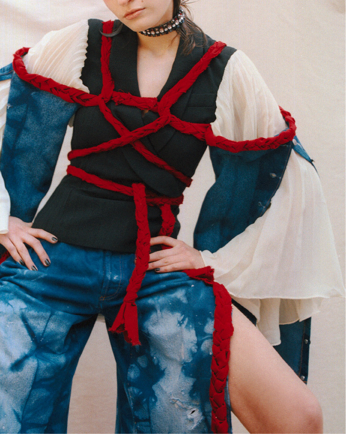 Kateryna wearing our Shibori Shibari sleeves and Shibori denim pants on Coeval magazine   https://www.coeval-magazine.com/coeval/ginger