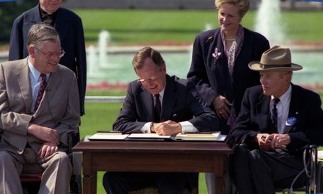 """""""America welcomes into the mainstream of life all of our fellow citizens with disabilities. We embrace you for your abilities and for your disabilities, for our similarities and indeed for our differences, for your past courage, and your future dreams.""""  - President George N.H. Bush  Signing of The Americans with Disabilities Act  July 26, 1990"""