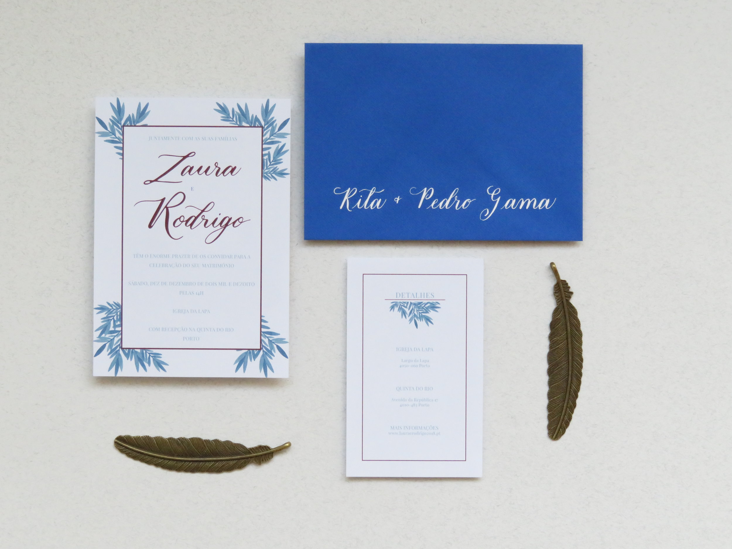 Storytime calligraphy blue leaves wedding invitation suite