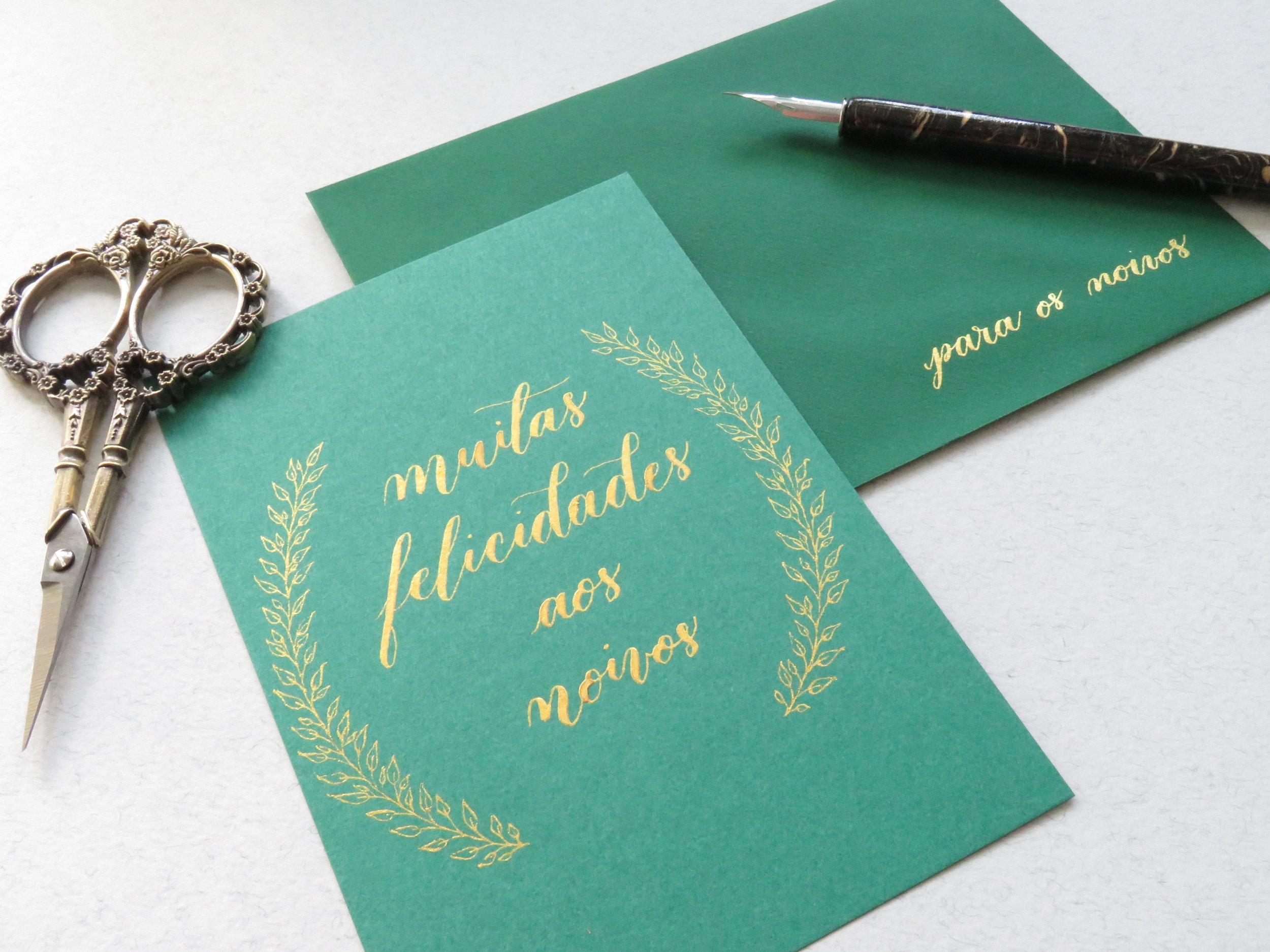 Storytime Calligraphy Design Cartão de Presente de Casamento