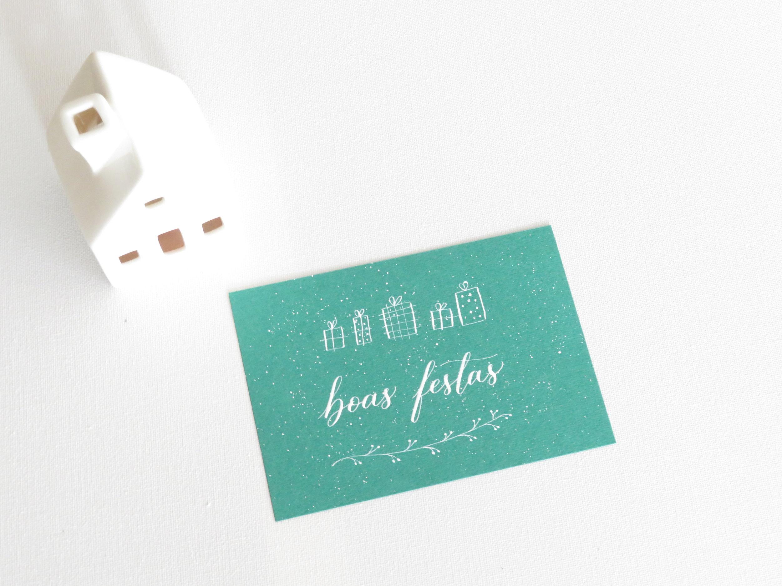 Storytime Calligraphy Design Cartão de Natal