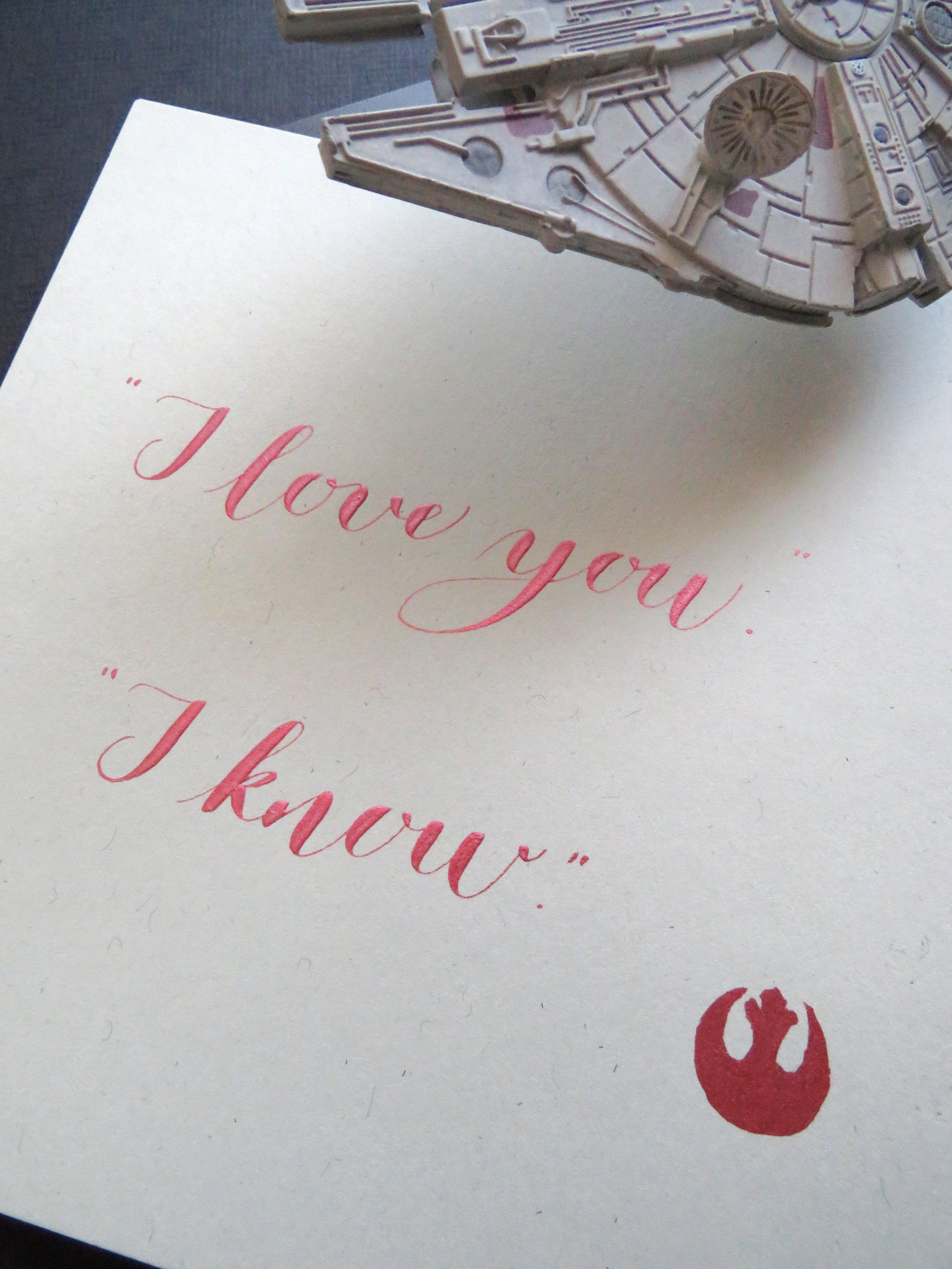 Storytime Calligraphy & Design Star Wars I Love You Frase