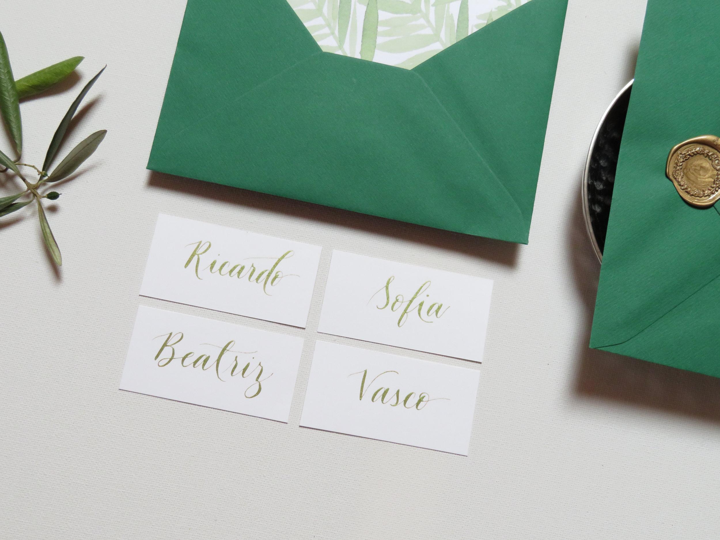 Marcadores de Mesa em Caligrafia Moderna Porto