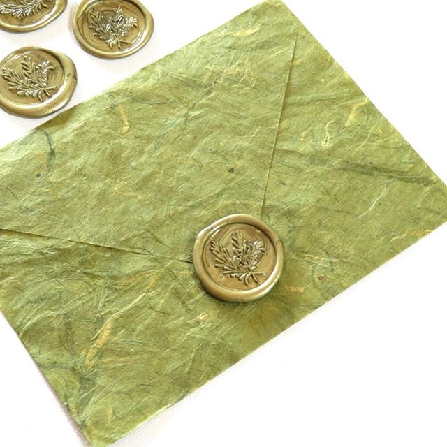 Handmade paper envelopes with olive green wax seal 💚