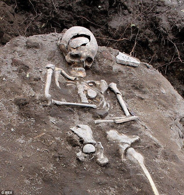 Human skeleton in the dirt