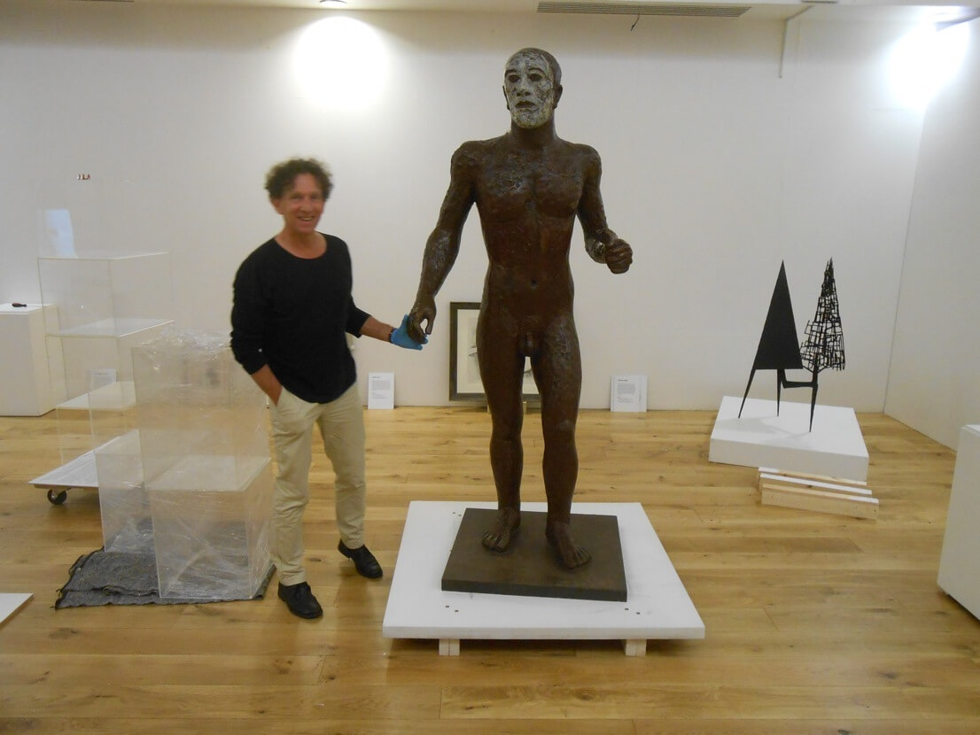 Michael with Elizabeth Frink's 'Riace'