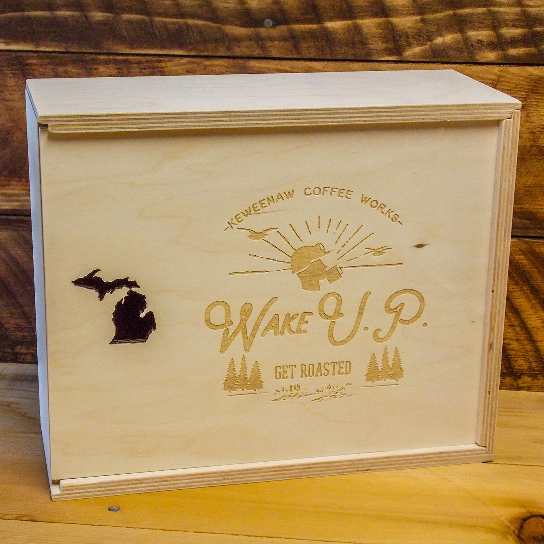 Keweenaw Coffee custom gift box with logo
