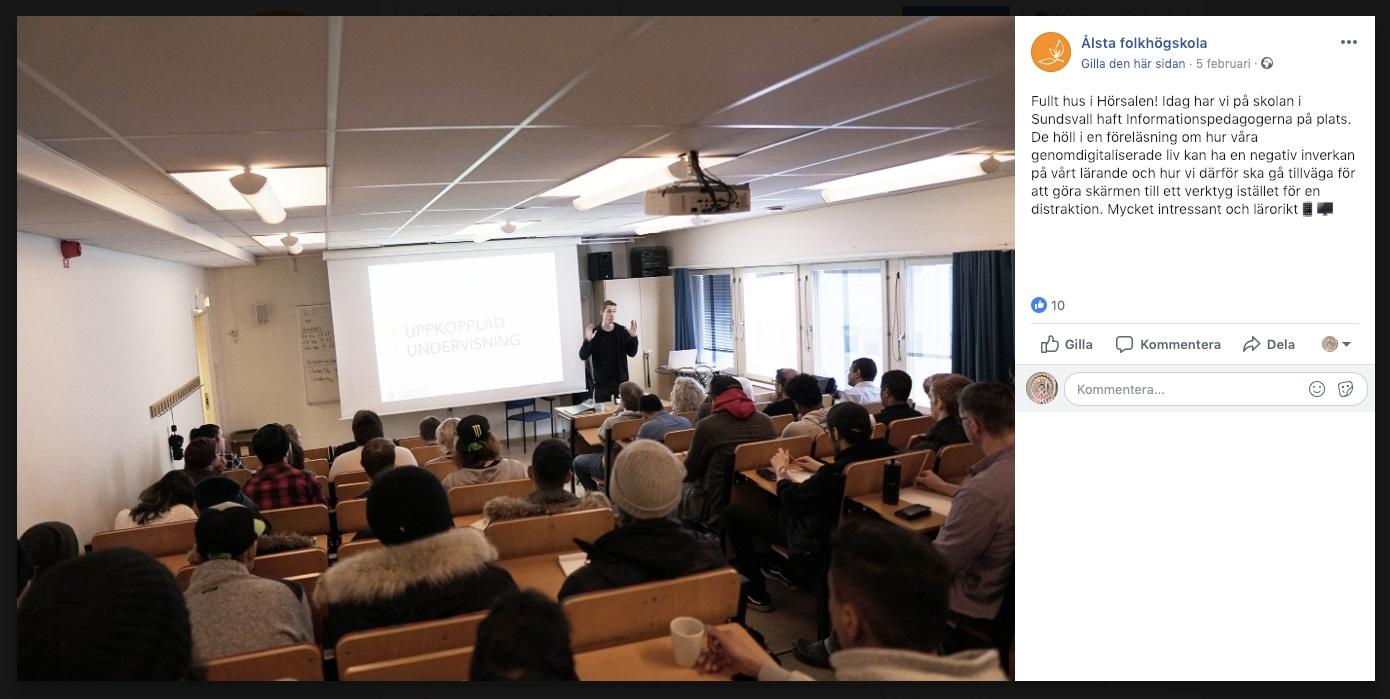 - Hur påverkas vårt lärande av de uppkopplade skärmarna? Föreläsning för deltagare och pedagoger på Ålsta folkhögskola i Sundsvall, februari 2019.