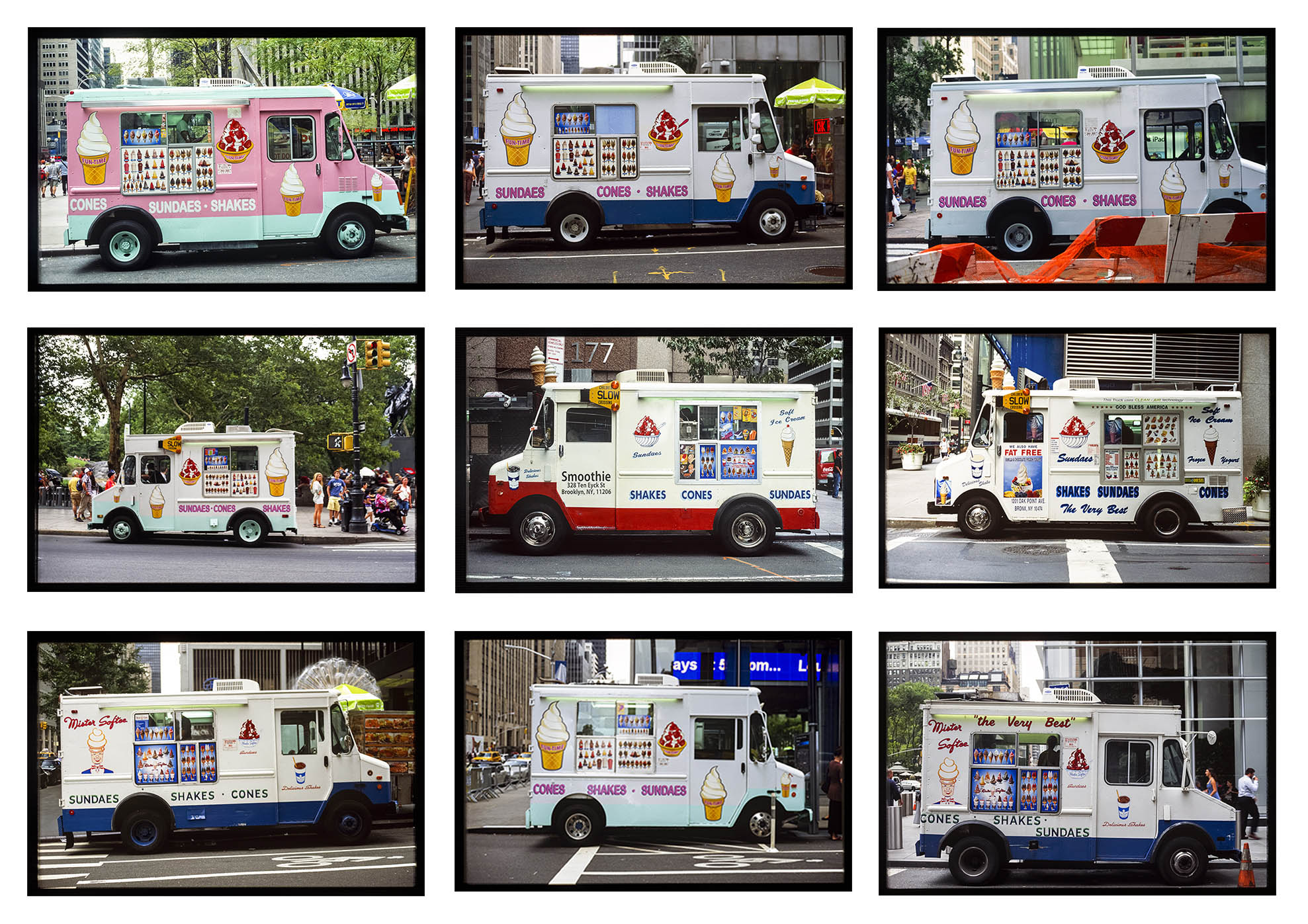 Nine Avenue of the Americas Ice Cream Trucks 2014 Nine archival fine art prints from 35mm slides, 8.7 x 12.6 in each