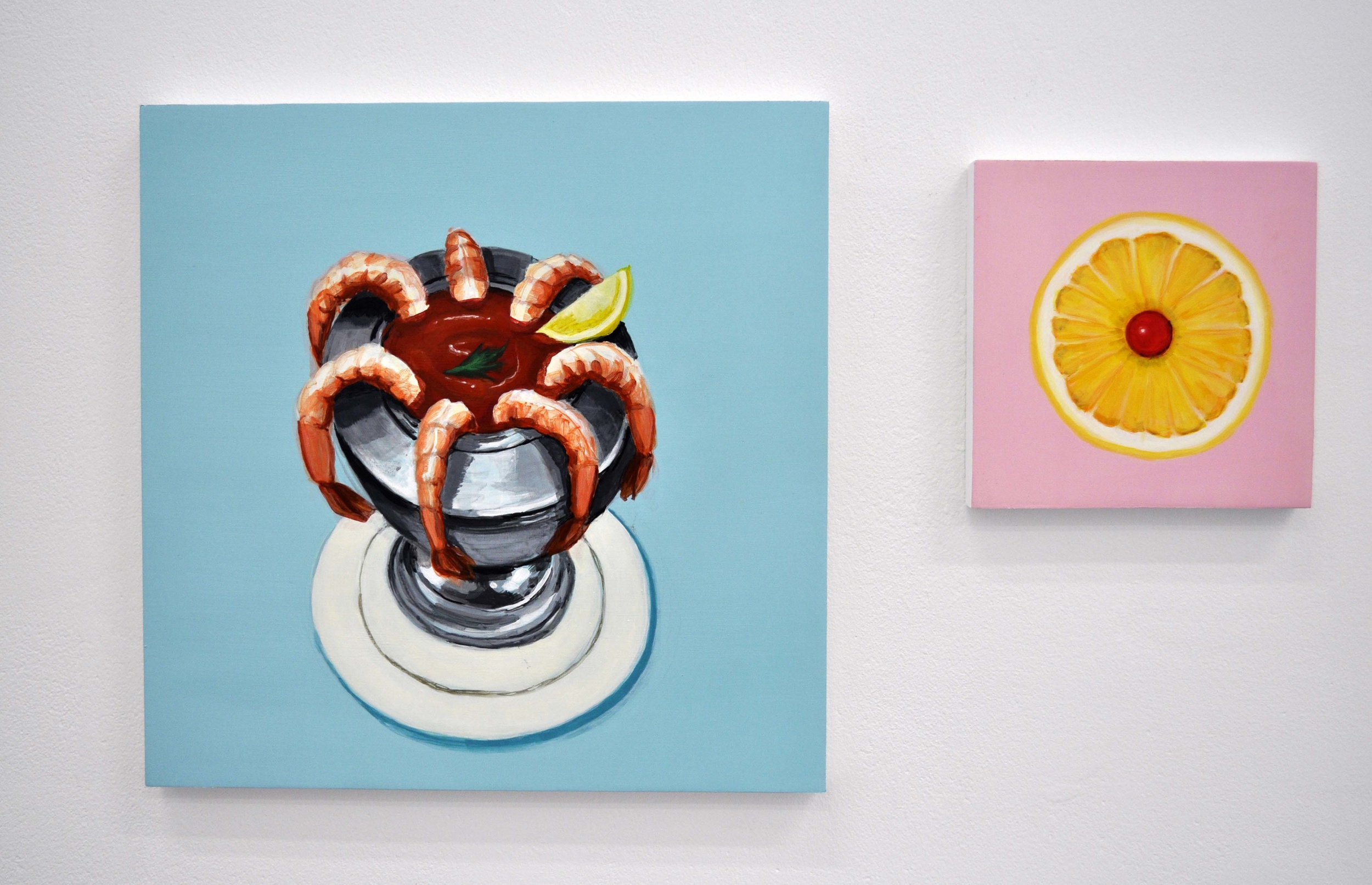 Left: Shrimp Cocktail  Right: Grapefruit Half From the series Some American Food 2013 Acrylic on birch ply, 12 x 12 in and 6 x 6 in