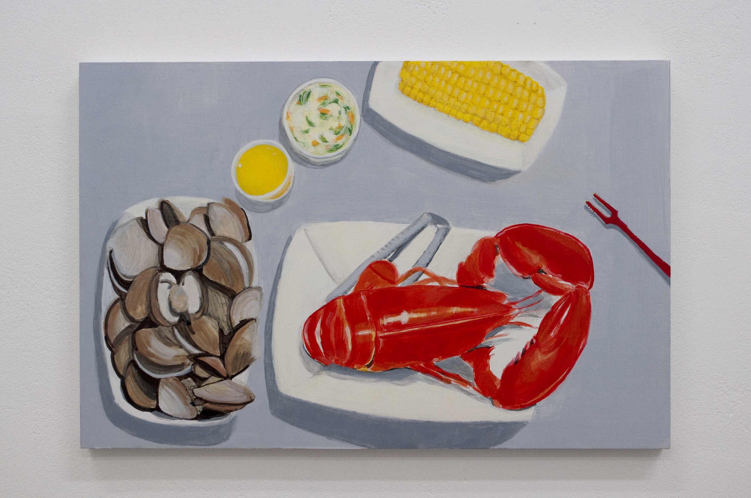 New England Lobster Dinner From the series Some American Food 2013 Acrylic on birch ply, 12 x 18 in
