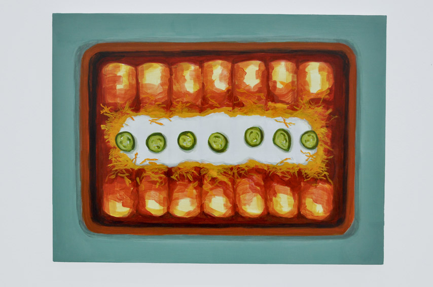 Old El Paso Enchiladas From the series Some American Food 2013 Acrylic on birch ply, 12 x 16 in
