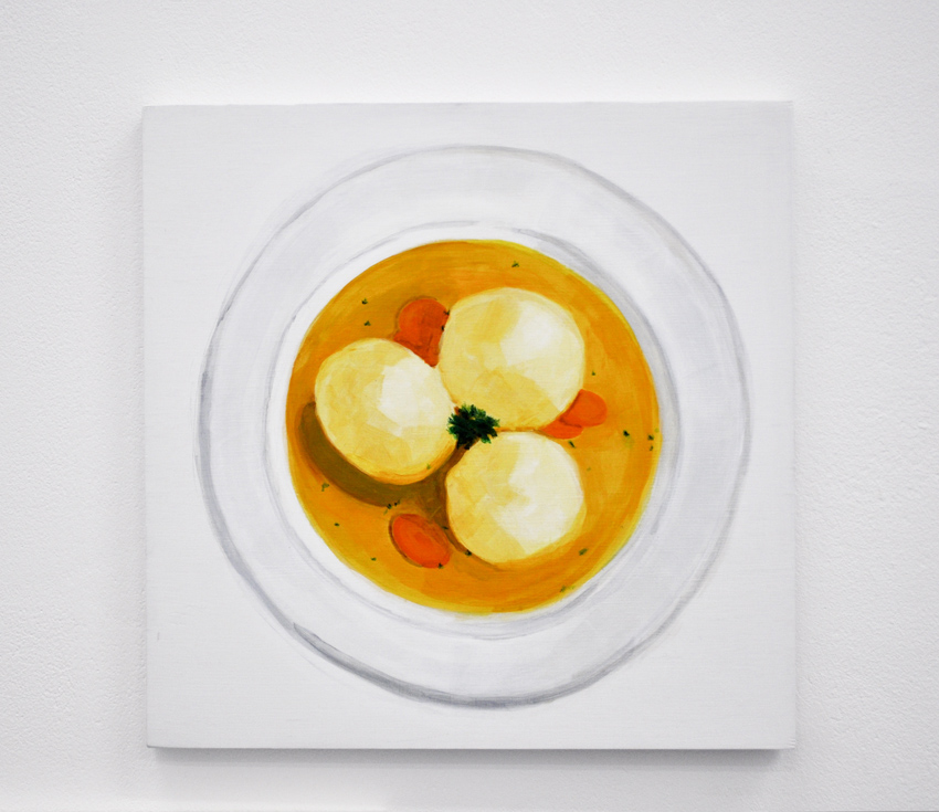 Matzo Ball Soup From the series Some American Food 2013 Acrylic on birch ply, 12 x 12 in