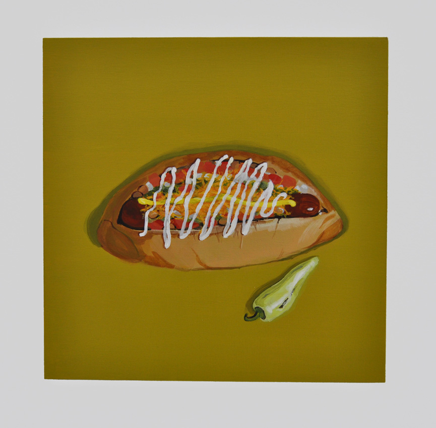 El Guero Canelo's Sonoran Dog From the series Some American Food 2013 Acrylic on birch ply, 12 x 12 in