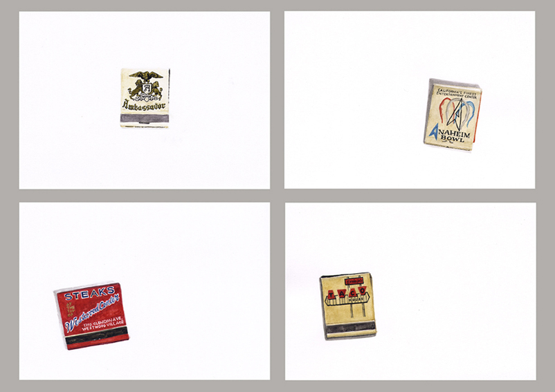 From the series Some Southern California Matchbooks 2010 Watercolor, gouache, and ink on paper, 5.8 x 8.3 in each