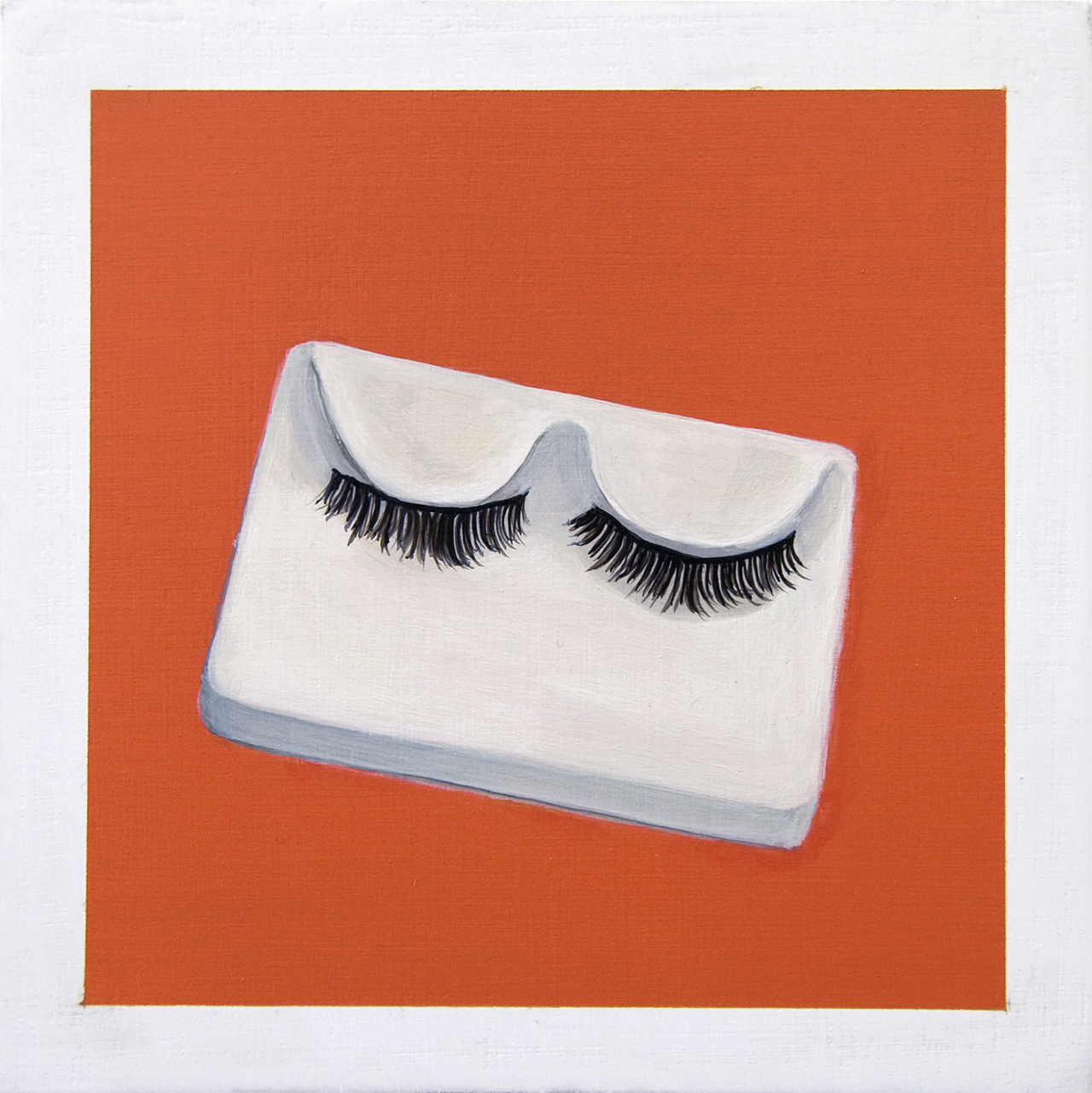 False Lashes From the series You've Come a Long Way, Baby, 2017 Acrylic on birch ply, 6 x 6 in