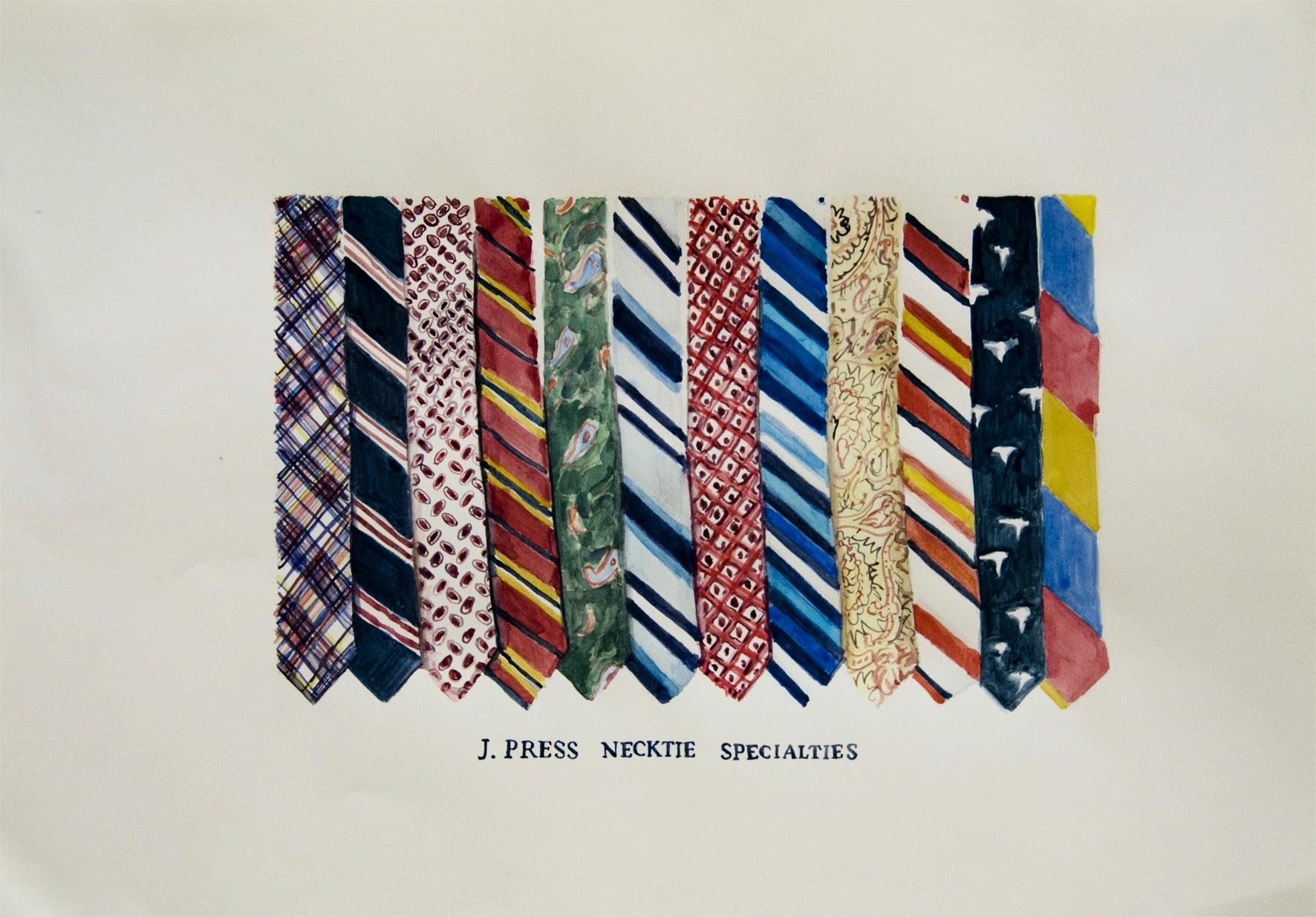 J. Press Necktie Specialties 2011 Watercolor and gouache on paper, 11.7 x 16.5 in