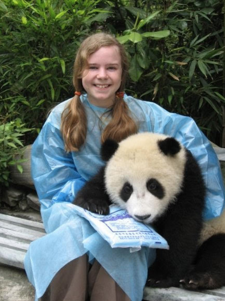 Author, Hailey Savage, at 12 visiting Hua Mei in China