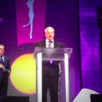 Greer receiving the Outie Award 2014