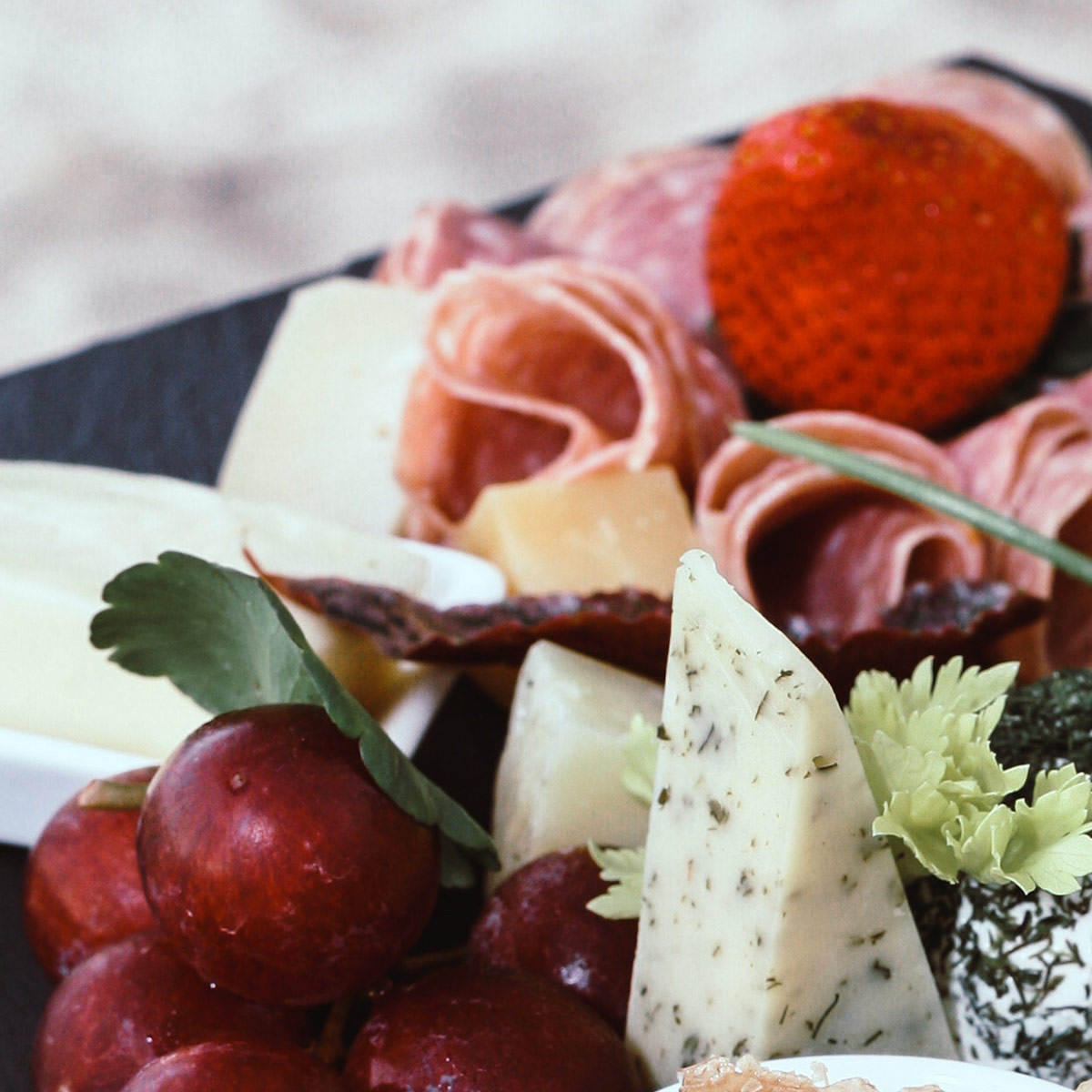 COLD FORK FOOD - Choose from a range of platters such as cheese, meat and simple crudites for a great accompaniment to a business lunch.