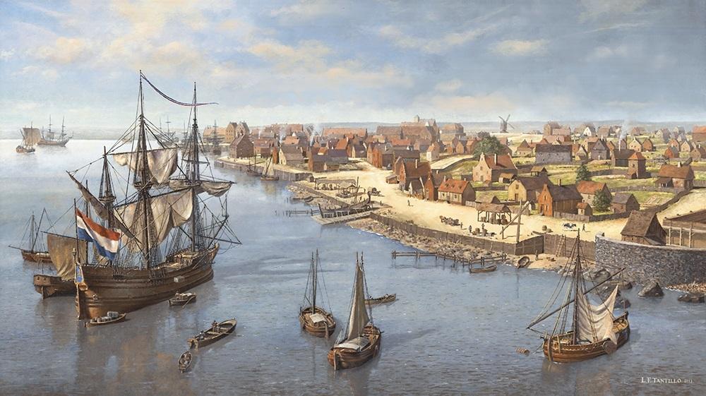 Len Tantillo,  East River Waterfront c. 1662.  Oil on canvas.