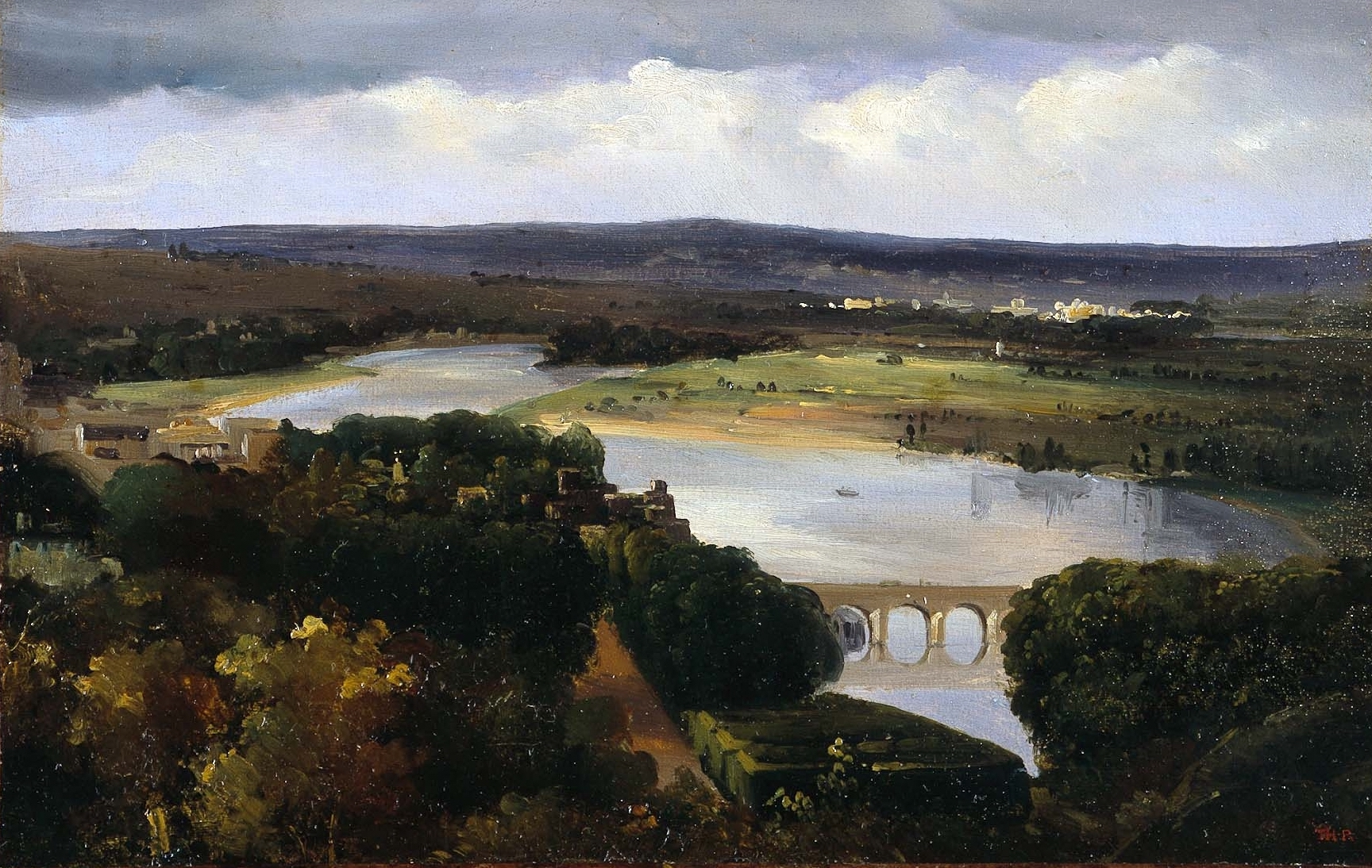 Théodore Rousseau,  A Panoramic View with a Bridge Over the Seine, Near Paris,  c. 1830-1835. Oil on paper mounted on canvas.