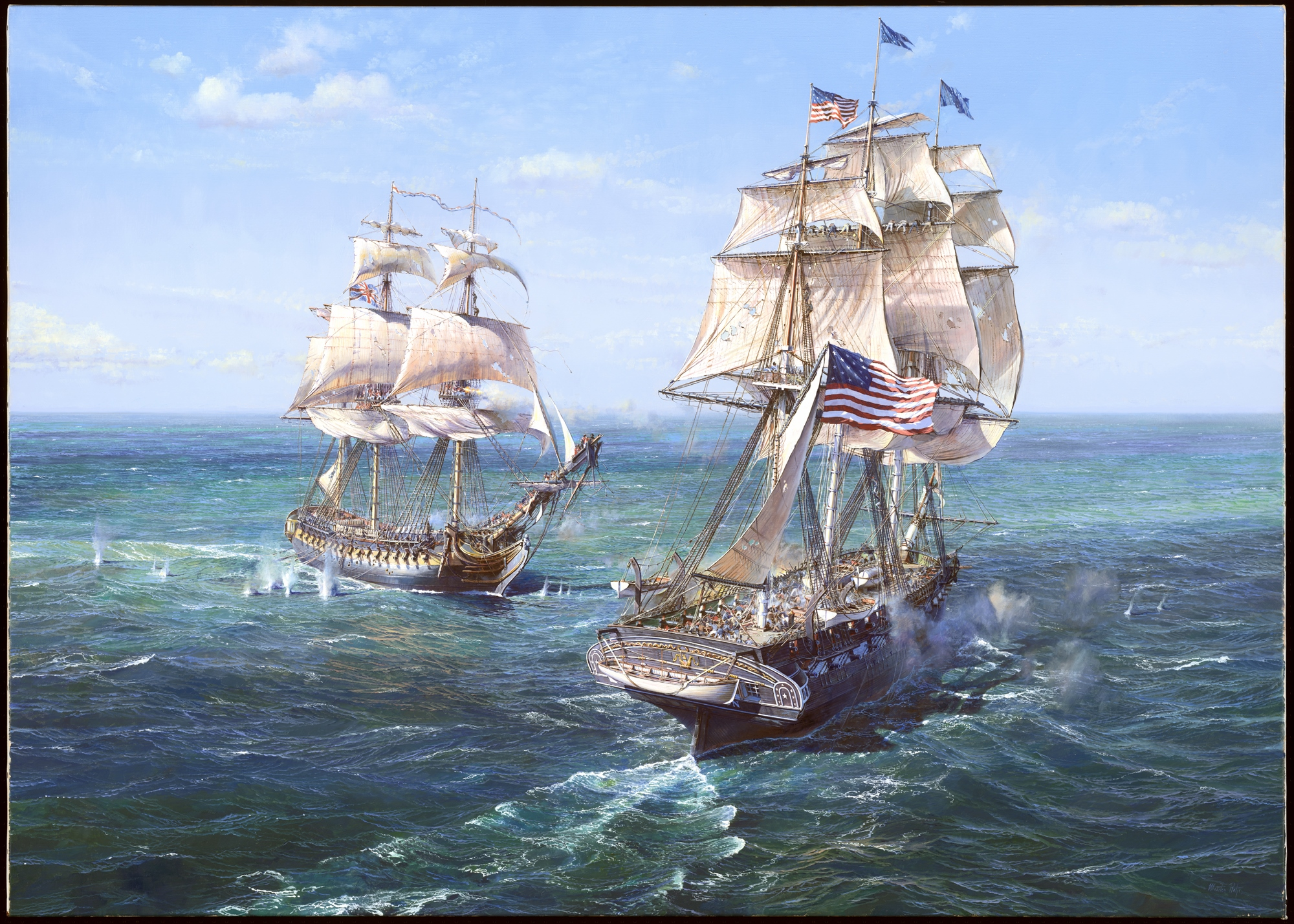 Maarten Platje, Dutch,  USS  Constitution  vs HMS  Java  (29 December 1812) , 2018. Oil on linen.